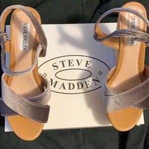 Steve Madden grey velvet wedges size 9